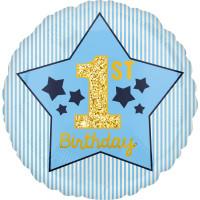Folienballon 1. Geburtstag Junge Art. 40370 Partydeko Ballon