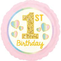Folienballon 1. Geburtstag Mädchen Art. 40369 Partydeko Ballon