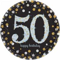 Teller Zahl 50 Happy Birthday Sparkling Partydeko Geburtstag Schwarz