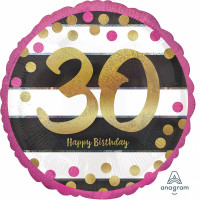 Folienballon Zahlenballon Milestone Zahl 30 Partdeko Geburtstag Ballon
