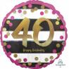 Folienballon Zahlenballon Milestone Zahl 40 Partdeko Geburtstag Ballon