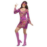 Hippie Kleid Chick Kostüm 60er 70er Jahre Schlagerparty Flower
