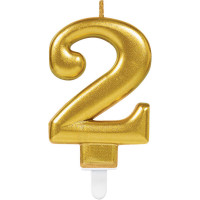 Geburtstag Kerze Zahl 2 Gold Happy Birthday Partydeko
