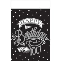 Tischdecke Happy Birthday Schwarz / Weiss Geburtstag Partydeko Chalkboard