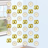 Hängedekoration Zahl 50 Gold Partydeko 50. Geburtstag Hochzeit