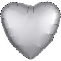 Folienballon Herz Satin Silber Art.36806 Partydeko Ballon Valentinstag Hochzeit