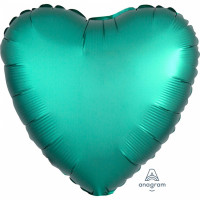 Folienballon Herz Satin Grün Jade Art.36799 Partydeko Ballon Valentinstag Hochzeit