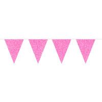 Flaggenbanner Pink Glitzer 6m Partydeko Geburtstag Kindergeburtstag