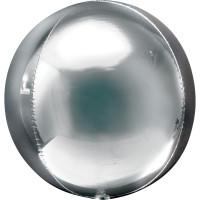 Folienballon Orbz Rund Silber Art.28201 Partydeko Kugelballon