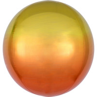 Folienballon Orbz Rund Ombre Gelb Orange Art.39848 Partydeko Kugelballon