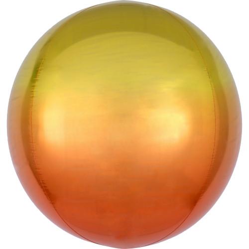 Folienballon Orbz Rund Ombre Gelb Orange Art.39848 Partydeko Kugelballon