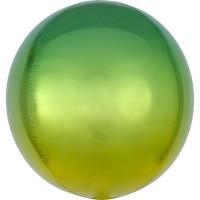 Folienballon Orbz Rund Ombre Gelb Grün Art.39846 Partydeko Kugelballon