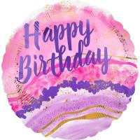 Folienballon Happy Birthday Art. 41282 Partydeko Ballon Geburtstag Blumen
