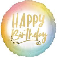 Folienballon Happy Birthday Art. 41287 Partydeko Ballon Geburtstag Blumen