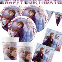 Partyset 61 Teile XXL Frozen 2 Partydeko Partyset Disney Frozen Eiskönigin
