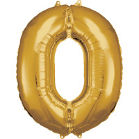 Folienballon XL Zahl 0 Gold Partydeko Geburtstag