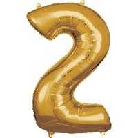 Folienballon XL Zahl 2 Gold Partydeko Geburtstag Ballon