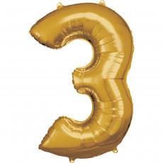 Folienballon XL Zahl 3 Gold Partydeko Geburtstag Ballon