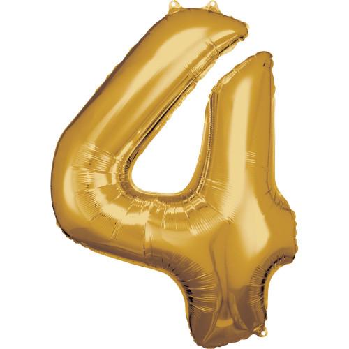 Folienballon XL Zahl 4 Gold Partydeko Geburtstag Ballon