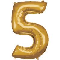 Folienballon XL Zahl 5 Gold Partydeko Geburtstag