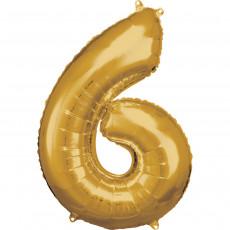 Folienballon XL Zahl 6 Gold Partydeko Geburtstag