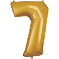 Folienballon Zahl 7 Gold Partydeko Geburtstag