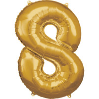 Folienballon XL Zahl 8 Gold Partydeko Geburtstag