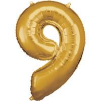 Folienballon XL Zahl 9 Gold Partydeko Geburtstag
