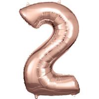 Folienballon XL Zahl 2 Rose Gold Partydeko Geburtstag Ballon