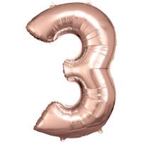 Folienballon XL Zahl 3 Rose Gold Partydeko Geburtstag Ballon