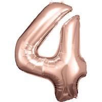 Folienballon XL Zahl 4 Rose Gold Partydeko Geburtstag Ballon