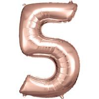 Folienballon XL Zahl 5 Rose Gold Partydeko Geburtstag Ballon