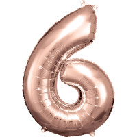 Folienballon XL Zahl 6 Rose Gold Partydeko Geburtstag Ballon