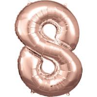 Folienballon XL Zahl 8 Rose Gold Partydeko Geburtstag Ballon