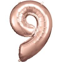 Folienballon XL Zahl 9 Rose Gold Partydeko Geburtstag Ballon