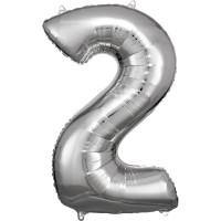 Folienballon XL Zahl 2 Silber Partydeko Geburtstag Ballon