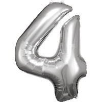 Folienballon XL Zahl 4 Silber Partydeko Geburtstag Ballon