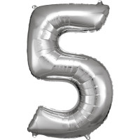 Folienballon XL Zahl 5 Silber Partydeko Geburtstag