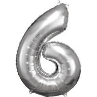 Folienballon XL Zahl 6 Silber Partydeko Geburtstag