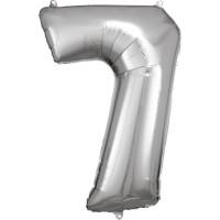 Folienballon XL Zahl 7 Silber Partydeko Geburtstag