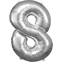 Folienballon XL Zahl 8 Silber Partydeko Geburtstag