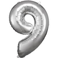 Folienballon XL Zahl 9 Silber Partydeko Geburtstag