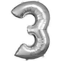 Folienballon XL Zahl 3 Silber Partydeko Geburtstag