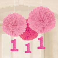 1. Geburtstag Pom Pom Fluffy Partydeko 1. Birthday Mädchen Rosa