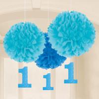 1. Geburtstag Pom Pom Fluffy Partydeko 1. Birthday Junge Blau
