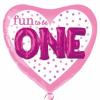Folienballon XXL Herz Art. 32546 1. Geburtstag Partydeko Ballon