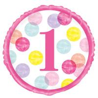 Folienballon 1. Geburtstag Mädchen Art. 73297 Partydeko Ballon