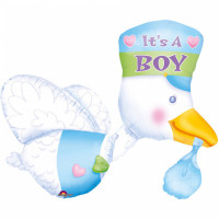 Babyparty XXL Folienballon Storch its a Boy Partydeko Ballon