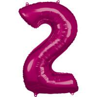 Folienballon XL Zahl 2 Pink Partydeko Ballon Geburtstag