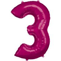Folienballon XL Zahl 3 Pink Partydeko Geburtstag Ballon